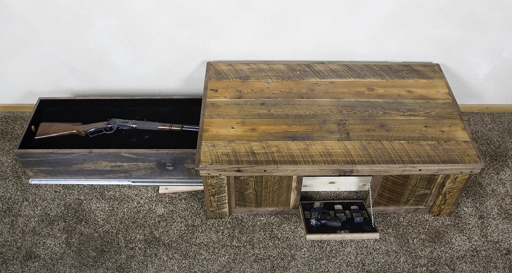 Hand Made Hidden Gun Barn Wood Coffee Table By Droptine Woodworks