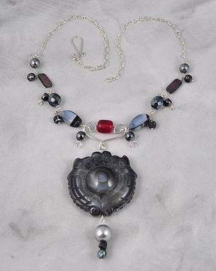 Custom Made Charcoal Necklace With Touch Of Red