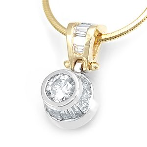 Custom Made Baguette Diamond Pendant With Round Cz Center In 14k White & Yellow Gold, Diamond Pendant