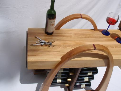 Custom Made Curved Wine Rack With Butcher Block Top