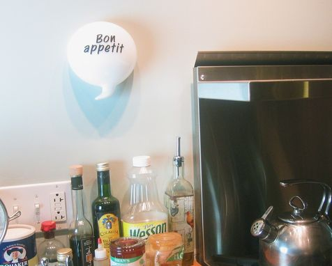 Custom Made Bon Appetit Glass Kitchen Word Balloon Quirky Fun Gift Wall