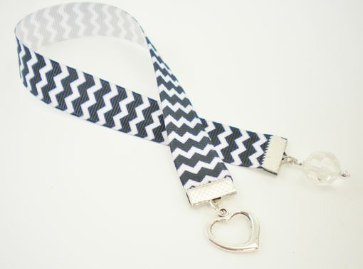 Custom Made Black And White Chevron Ribbon Bookmark With Heart Charm