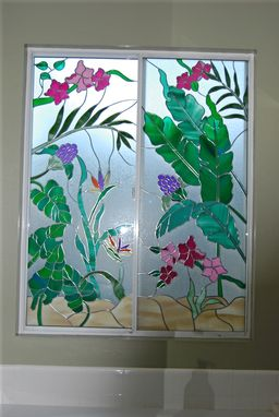 Custom Made Tropical Design Glass Panel