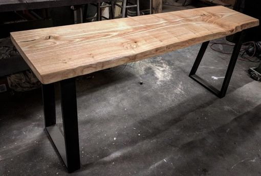Custom Made Ash Slab Top Console Table