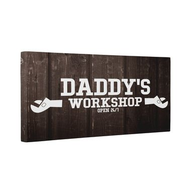 Custom Made Modern Daddy'S Workshop Canvas Wall Art