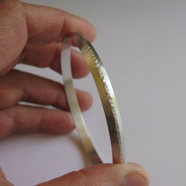 Custom Made Engravable Sterling Silver Bangle Bracelet With Textured Ridge