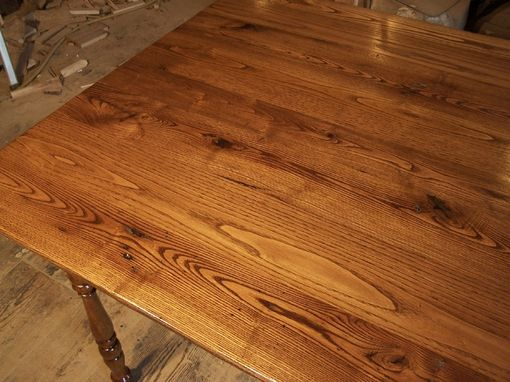 Custom Made Reclaimed Chestnut Virginia Farm Table With Turned Legs