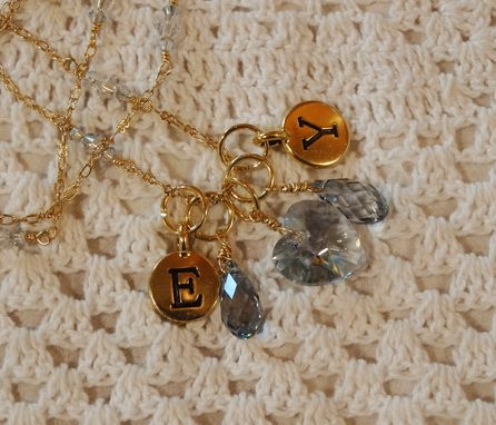 Custom Made Gold Initial & Birthstone Charm Necklace - Swarovski Crystals And Gold Initial Discs