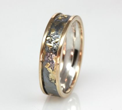 Custom Made Handmade Sterling Silver, 14k Gold, And 18k Gold Fused Ring