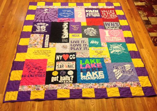 Custom Made Custom Embroidered High School/College Colors Multi Block Tshirt Quilt