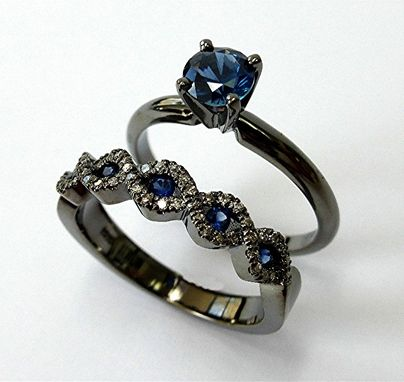 Custom Made Black Gold Sapphire Engagement Set