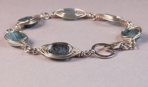 Custom Made Herringbone Wire Wrapped Bracelet With Kyanite Beads