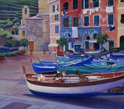 Custom Made Vernazza Piazza (Italy) - Fine Art Notecard Set Of Five (4.25