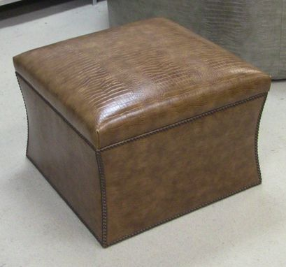 Custom Made Custom Ottoman With Vinyl Crocodile And Bronze Nailheads