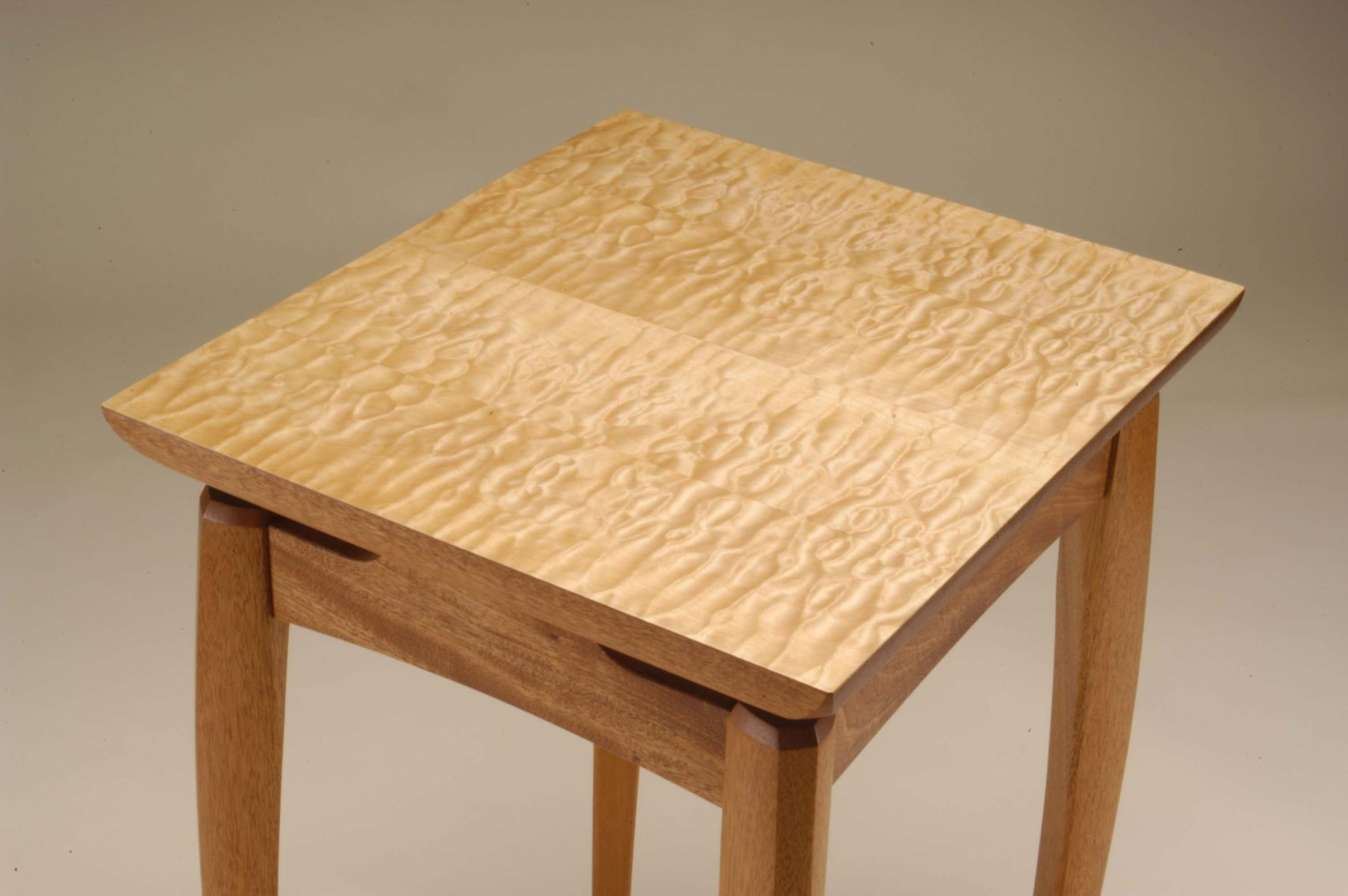 Custom Made Mahogany And Quilted Maple Side Table By Neal