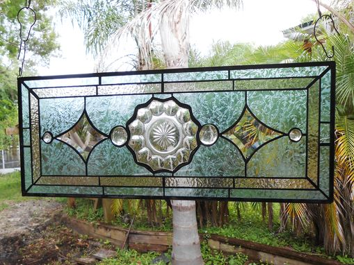 Custom Made 1930s Heisey Depression Glass Stained Glass Panel, Vintage Window Transom W Peerless Plate