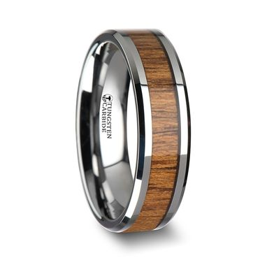Custom Made Tekku Wood Tungsten Ring With Polished Bevels And Teak Wood Inlay - 6mm - 10mm
