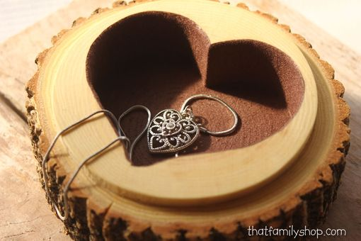 Custom Made Hollow-Log Jewelry Box With Woodburned Personalization