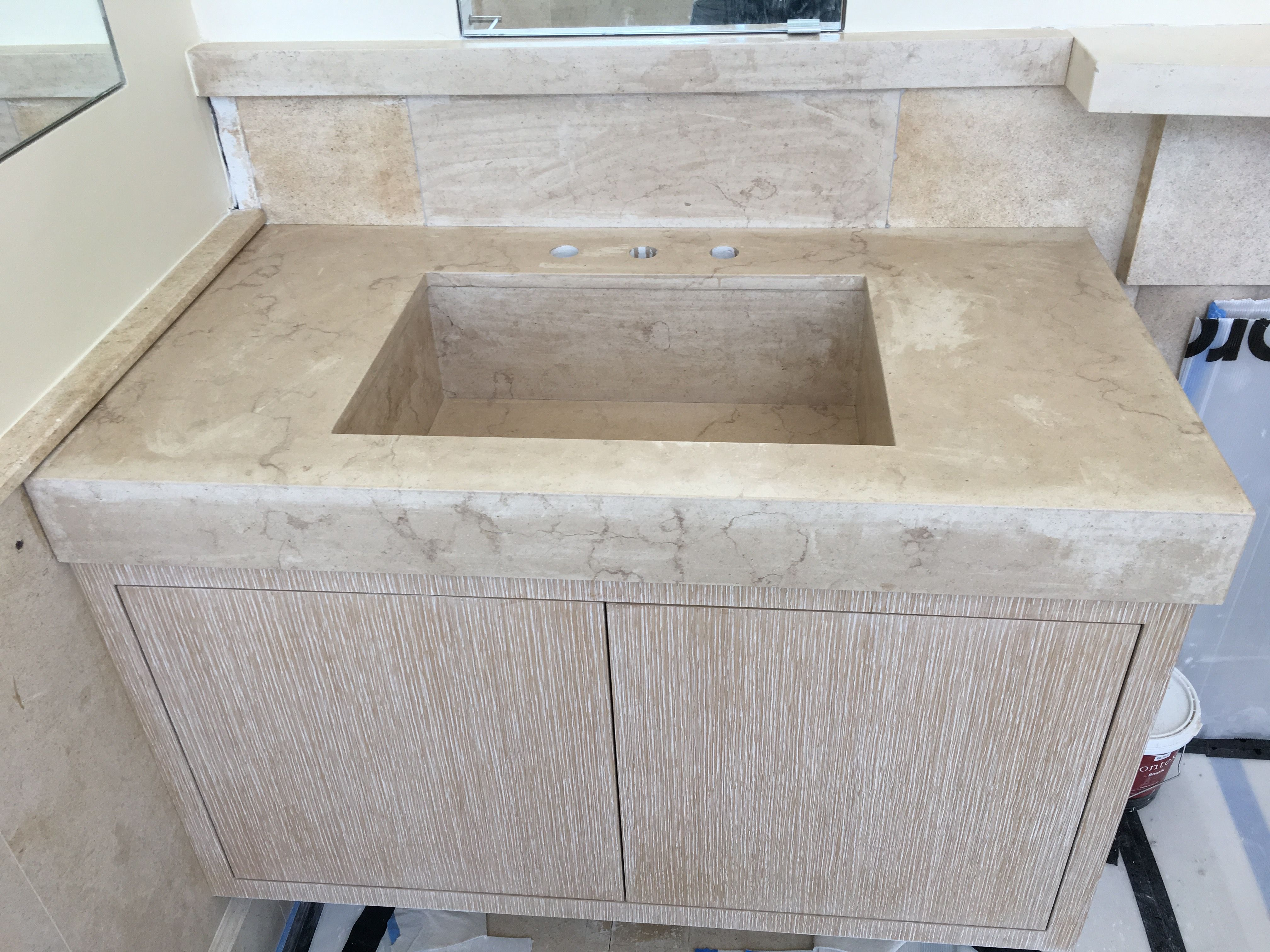 Hand Crafted Custom Honed Moleanos Limestone Floating Vanity Sink By Boston Counters Custommade Com