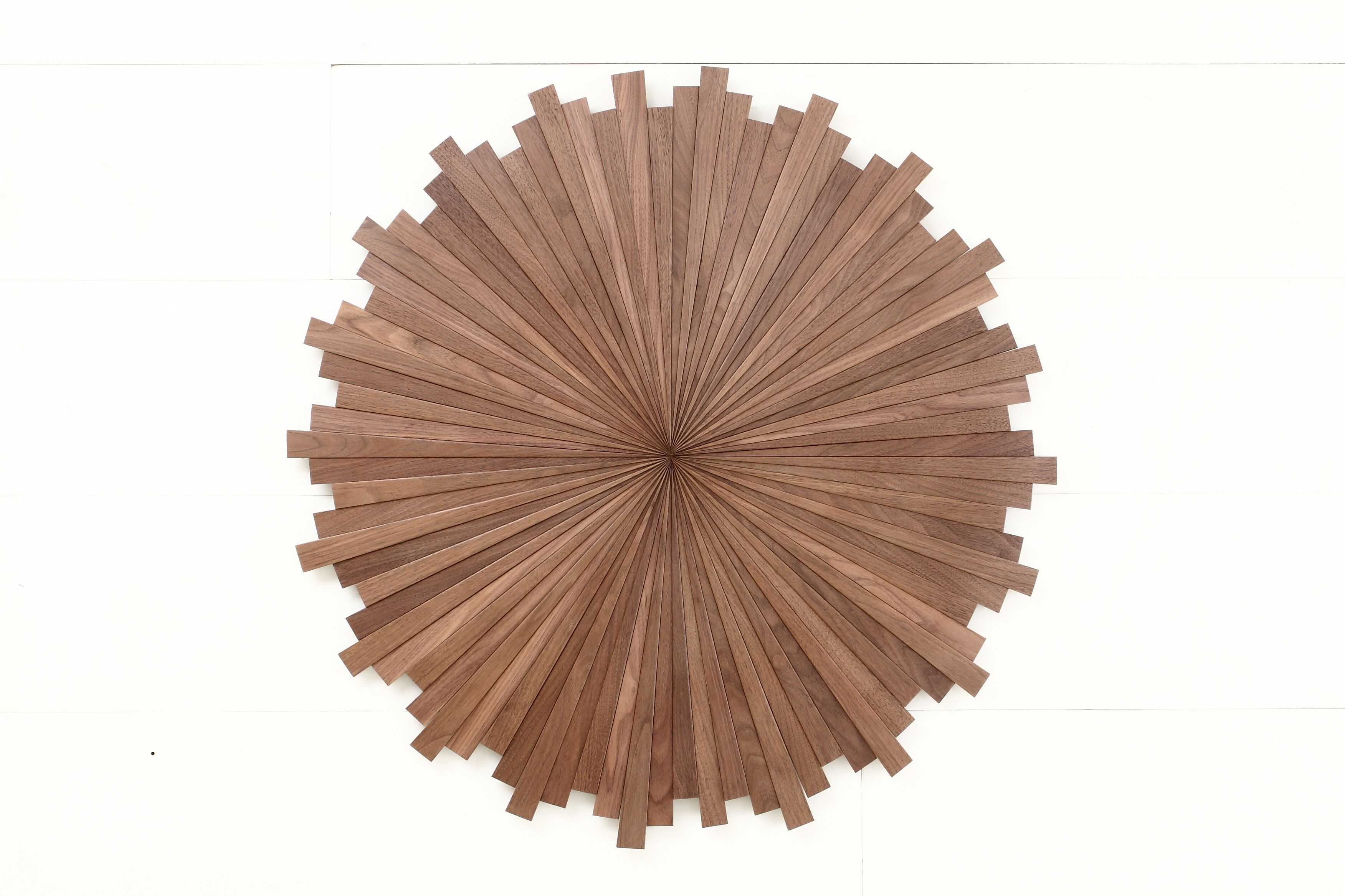 Hand Crafted Starburst Wood Wall Art Made Of Black Walnut