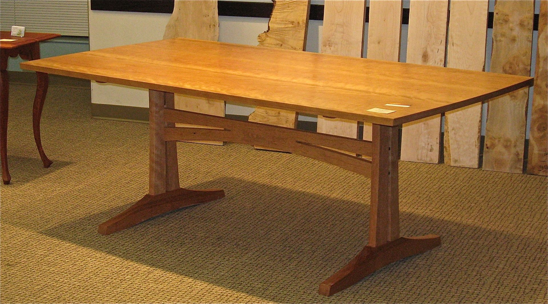 Handmade cherry 3 plank trestle dining table by pat for Cherry dining table