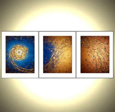 Custom Made Original Painting, Contemporary Abstract Art, Blue Gold Night Star, Textured Paintings
