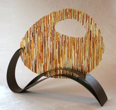 Custom Made Amber Circle Fused Glass And Metal Sculpture