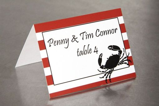 Custom Made Wedding Place Cards - Crab And Stripe - Escort Cards Custom Designed
