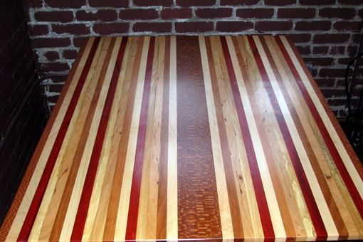 Custom Made Kitchen Table Made From Many Woods With Hand Turned Farm Legs