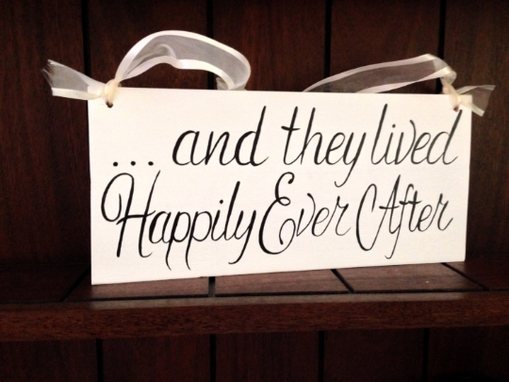 Custom Made And They Lived Happily Ever After Rustic Wedding Sign, Flower Girl Sign