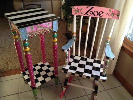 Custom Made Custom Hand Painted Child's Rocking Chair Youth Chair Personalized