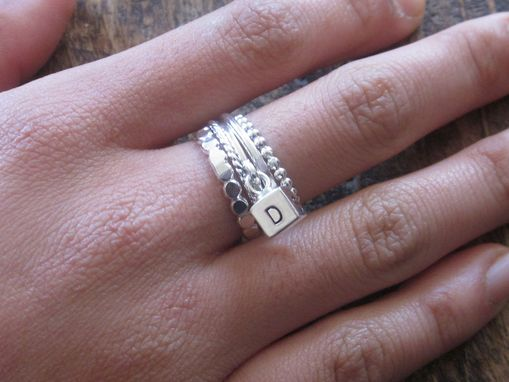 Custom Made Stacking Ring Set With Alphabet Block