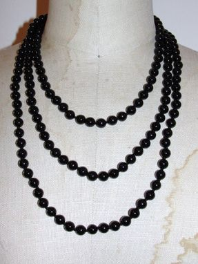 Custom Made Black Onyx Beaded Flapper Rope Necklace