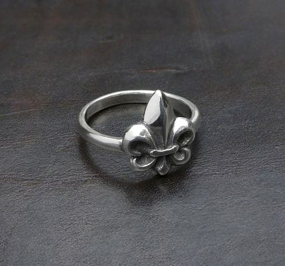 Custom Made New - Small Fleur De Lis Ring-Women Ring-Stackable Ring In Sterling Silver - Engagement - Valentine