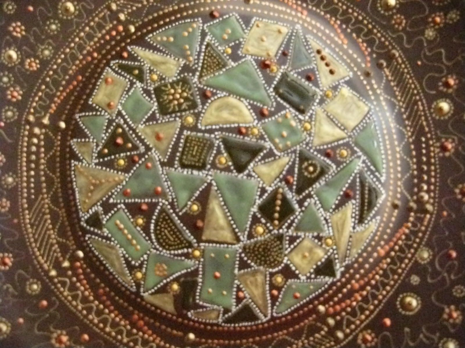 Hand Made Hand Painted Zendala Style Decorative Plate by Elena s