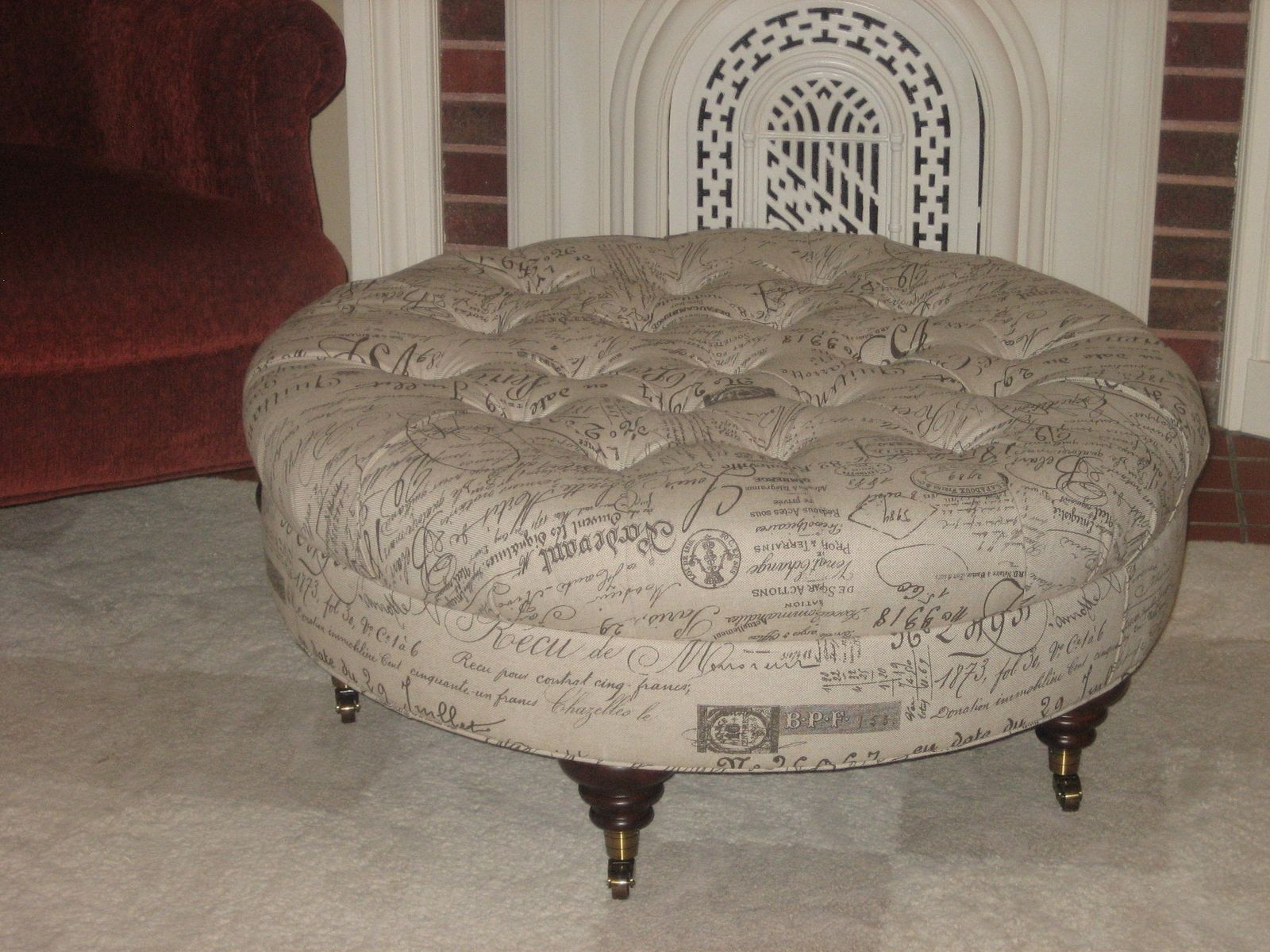 hand made round script fabric ottoman with tufting by agamedi  - custom made round script fabric ottoman with tufting