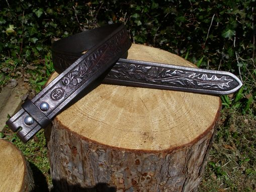 Custom Made Hand Tooled Mens Belt