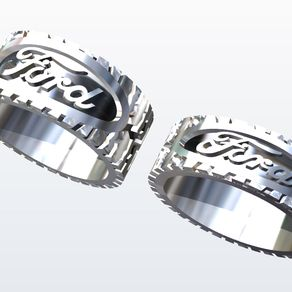 ford logo with tire treads ring - Mud Tire Wedding Rings