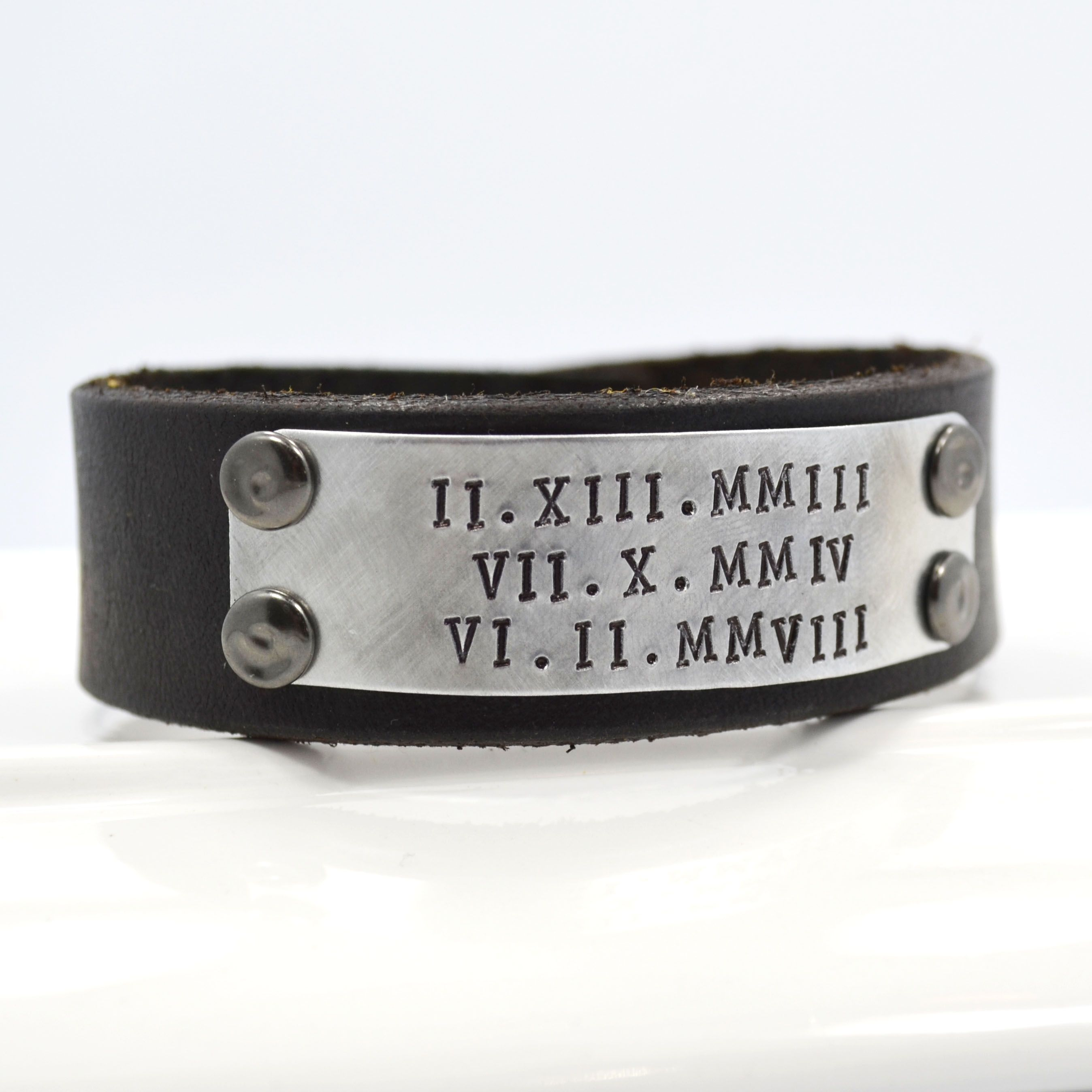 Custom Made Leather Cuff Bracelet For Men Or Women Personalized With Roman Numerals Dates Names