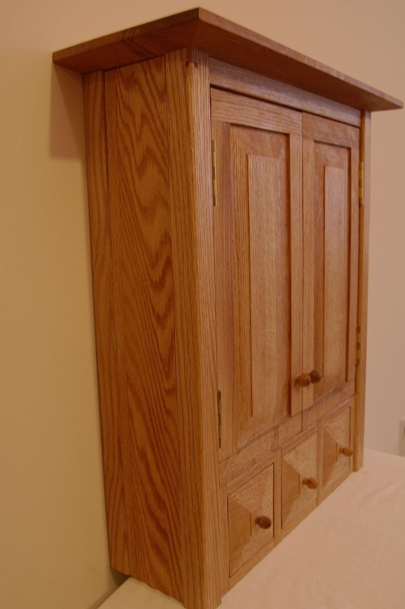 Custom Made Country Oak Three Drawer E Medicine Cabinet