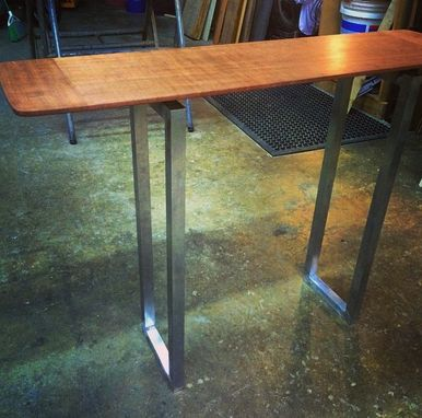 Custom Made Delicate Sofa Table In Sapele With Aluminum Base