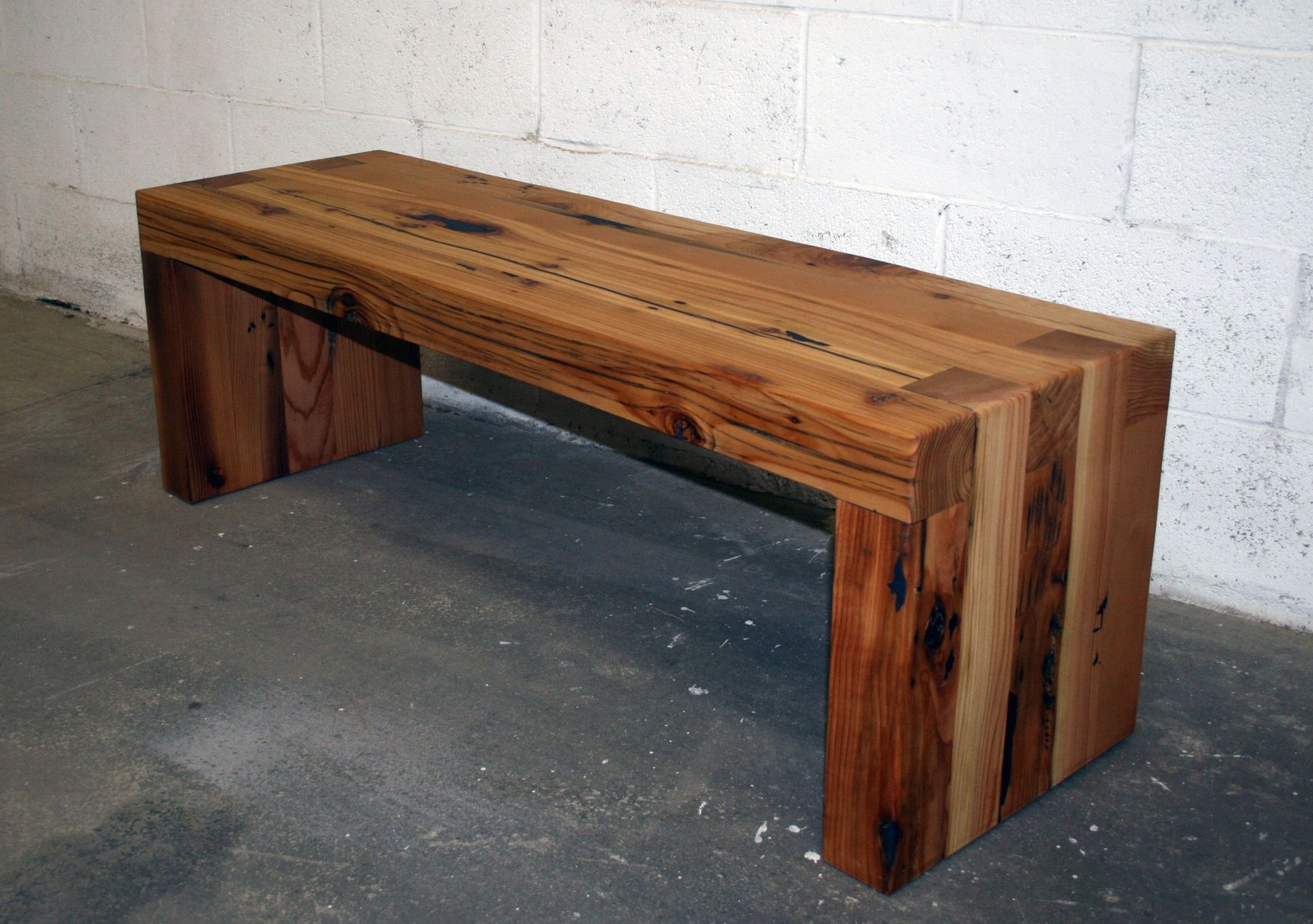 Hand made reclaimed cedar box joint bench coffee table by historicwoods by lunarcanyon custommade com