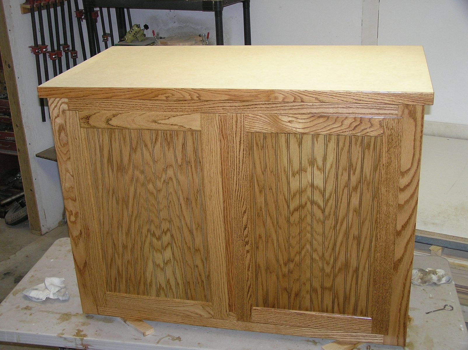 Custom Made Oak And Oak Beadboard Kitchen Island