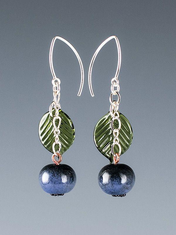 Buy Handmade Glass Ripe Blueberry Earrings With Dark Green Leaves On ...
