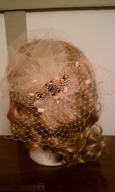 Custom Made Semi-Birdcage Blush Wedding Veil