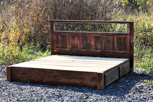 Custom Made Rustic Platform Storage Bed In Solid Reclaimed Oak And Wrought Iron 4 Drawers