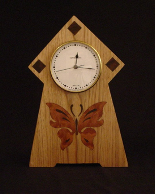 Custom Made Butterfly Clock, Handcrafted In The U.S. Mc-19