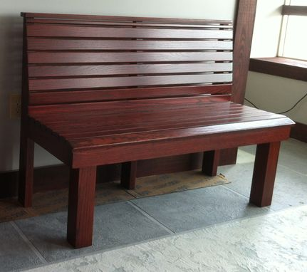 Custom Made Solid Oak Benches With Slats 4 Foot Long