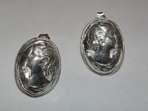 Custom Made Sterling Silver Art Nouveau Inspired Womens Profile Cameo Earrings