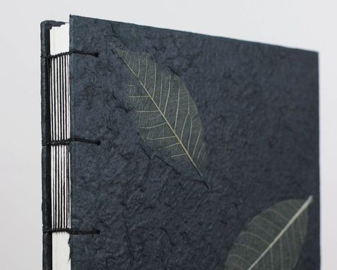 Custom Made Pretty Black Journal, Leaves Notebook Or Watercolor Sketchbook